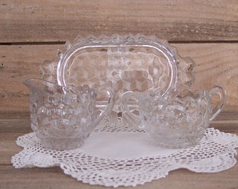 American Style Pressed Glass Creamer & Sugar with Tray