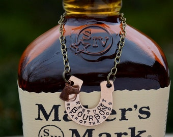 Bourbon Bottle Tag - Kentucky Derby Party Hostess Gift - Bronze HORSESHOE  - Original Design by Sycamore Hill - Southern Tradition and Charm