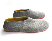 Mens Felted Slippers - Wool Slippers - Wool Clogs - Minimalist Shoes - Christmas in July - Rubber Soles - Gift for Him - Fathers Day