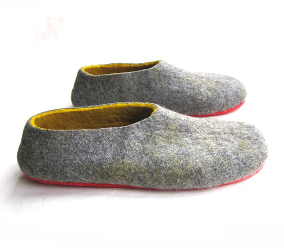 Mens Felted Slippers, Wool Slippers, Wool Clogs, NEW Outdoor Rubber Soles, Minimalist Shoes, Gift for Him, Gifts for Grandpa, Winter  Trends
