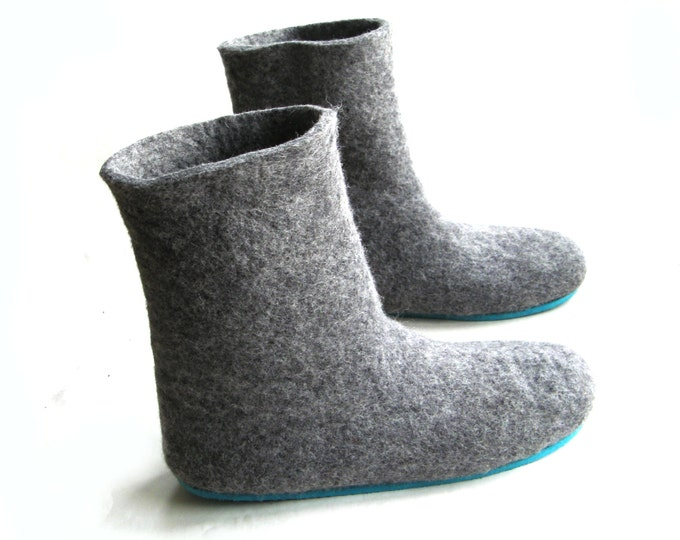 Handmade Felted Boots, Womens Boot Slippers, Wool Booties, Handmade Ankle Boots, Boiled Wool Shoes, Customised Shoes, Yoga Gift, Eco Fashion