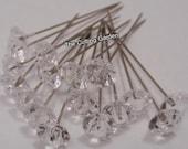 "Corsage / Boutonniere Pins  2"" Crystal Diamante / pk 100"