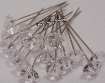 "Corsage / Boutonniere Pins  2"" Crystal Diamante / pk 100"