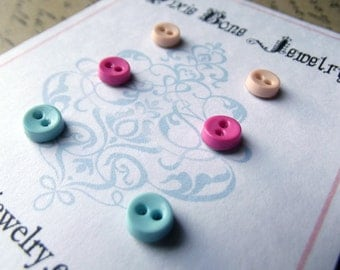 Mini Button Earrings Posts - Tiny Buttons in Sky Blue, Palest Peach, Cerise Pink - Small Earring Studs - Vintage Boardwalk Collection