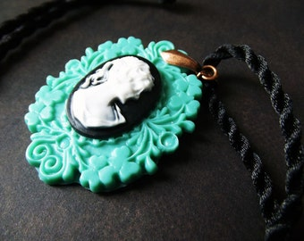 Pendant Cord Necklace - Victorian Woman Cameo Set in Green on Black Satin Cord