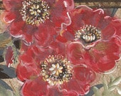 Louvre - original mixed media painting, Red Poppy Flowers painted on original antique 1927s wallpaper sample