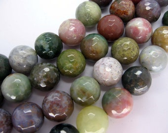 Full Strand Indian Agate Round Faceted Gemstone Beads 12mm