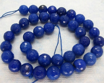 Beautiful Blue Jade Faceted Round Beads 10mm