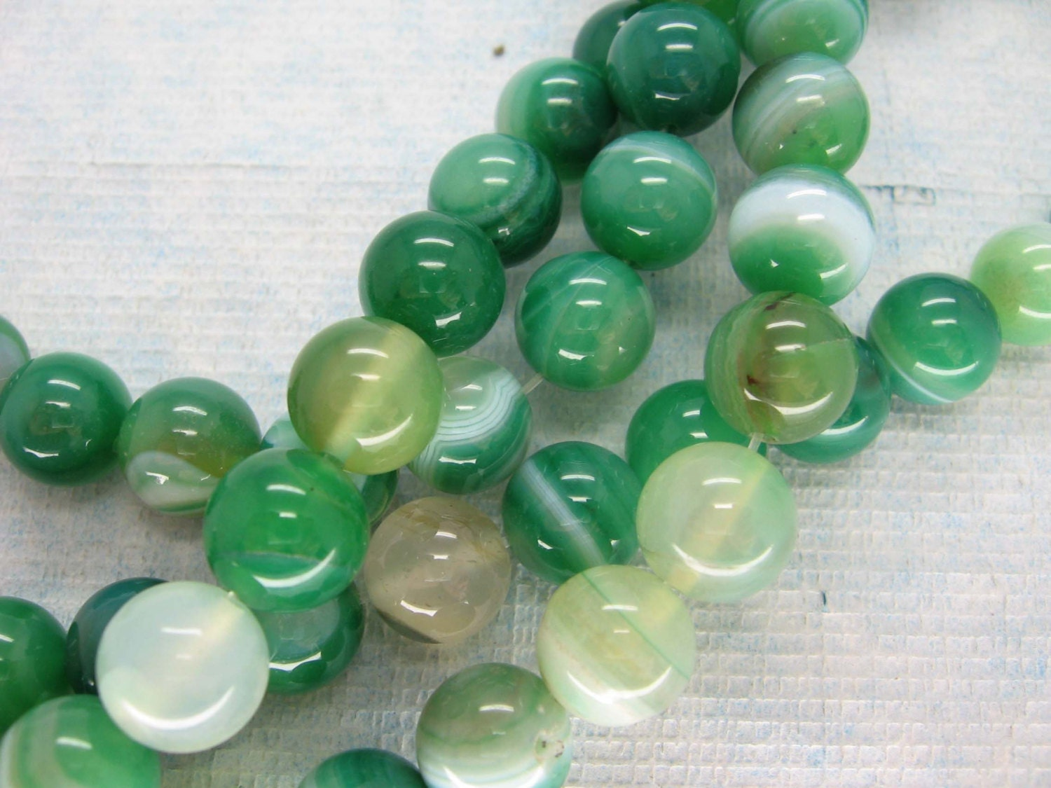 Full Strand Green Lace Agate Round Beads 10mm