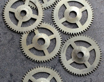 Vintage clock brass gears -- set of 6 -- D4