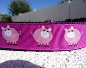 "Dog Collar Quick Release or Martingale collar Pink Piggy 1"" wide adjustable"