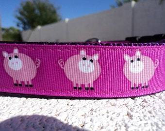 """Dog Collar Quick Release buckle or Martingale collar Pink Piggy 1"""" wide adjustable - incl dogs neck measurement, see details within listing"""