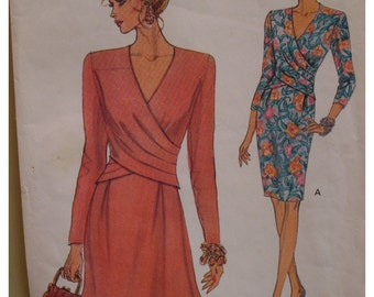 """Front Overlay Dress Pattern. Straight Skirt, V Neck, A Line, Long Sleeves, Vogue No. 8414  Size 12 14 (Bust 34-36"""" 87-92cm)"""