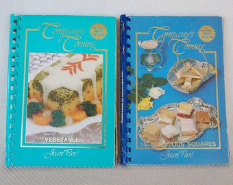 """2 Vintage Cookbooks """"Company's Coming"""" Vegetables ca 1989 and 150 Delicious Squares ca 1981 Sprial Bound Soft Cover  CB249"""