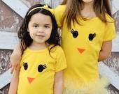 Sweet Yellow Spring Chickadee Girl's Tutu Shirt Easter Clothing