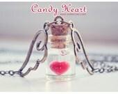 Heart bottle pendant, Tiny glass Bottle Necklace. love potion bottle. Glass Vial necklace, Cute Necklace, heart necklace, glass vial pendant