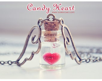 Heart Tiny glass Bottle Necklace. love potion vial pendant. Heart bottle pendant, miniature bottle heart necklace, fairytale gift for women