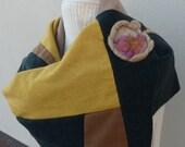 Patchwork Skarf Upcycled Recycled - Beige Yellow Green Wool Scarf - Warm Shawl