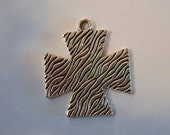 Small Zebra Patterned Metal Square Cross Pendant