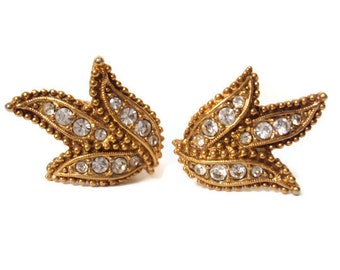 Vintage Rhinestone Earrings, Leaf Design, Gold Tone Clip-on Earrings, NEAR MINT Condition, Vintage Costume Jewelry