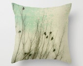 Throw Pillow Cover Textured Birds Braving the Winter Cold photo