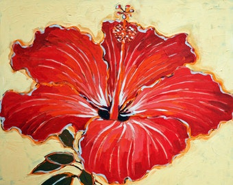 Hibiscus art print/red hibiscus/Hibiscus Flower print/floral art print/red flower artwork/floral giclee/hibiscus giclee/large flower/16 x 20