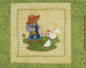 Fisherman Fred Feeds His Chicks Quilted Wallhanging