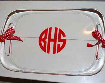 Monogram Serving Tray with Handles