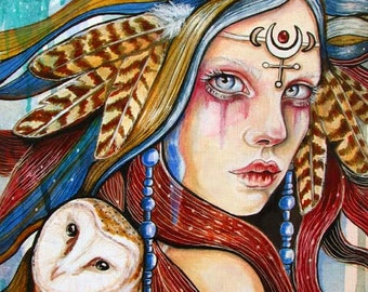 Moon Barn Owl priestess Goddess fine art print