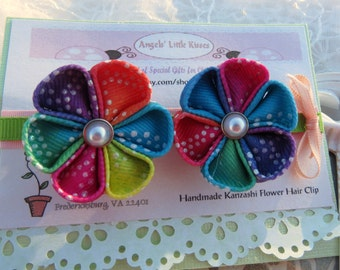 Girls Flower Hair Clip Kanzashi Flower Hairclip Set of Two Combination