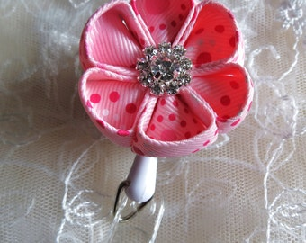 Retractable I.D. Badge Holder in Kanzashi Ribbon Flower with Round petals ID Badge Reel Shade of Pink  Retractable Reel