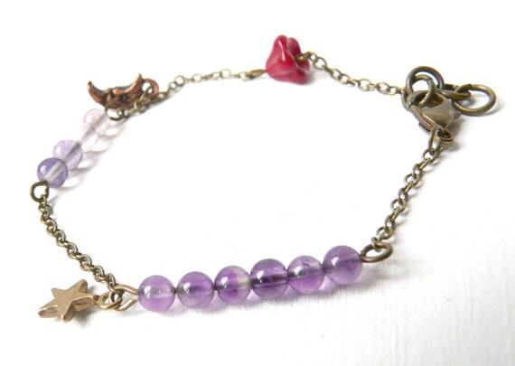 Charms childhood bracelet ( unique piece, moon, star, fluorite, amethyst, purple, beads, raspberry, jam ) 08