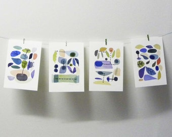 Set of 4 prints, watercolor paintings, kitchen decor, home decor, retro modern wall hangings