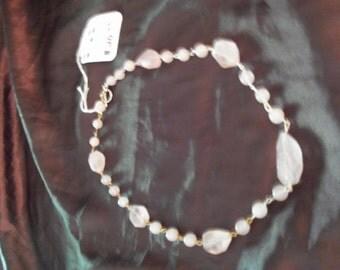 Rose Quartz Necklace, Beaded Necklace, Pink Quartz Necklace, Gemstone Necklace, Gift for Her, Natural Rose Quartz, Rose quartz Jewelry