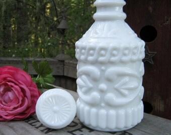 White Milk Glass Decanter - Jim Beam Whiskey Bottle - Oak Hill Vintage