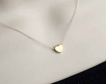 Heart Necklace, Tiny Gold Plated Heart Charm on Sterling Silver Chain, Bridal Shower,  Everyday Necklace, Minimalist, Simple Necklace