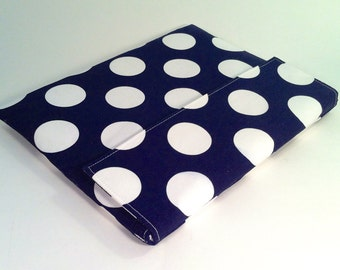 iPad Case, iPad Cover, iPad Sleeve in navy and white polka dots