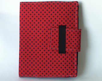iPad Case - Fits all generations.  Folding cover or stand in Modern Red with Navy Dots