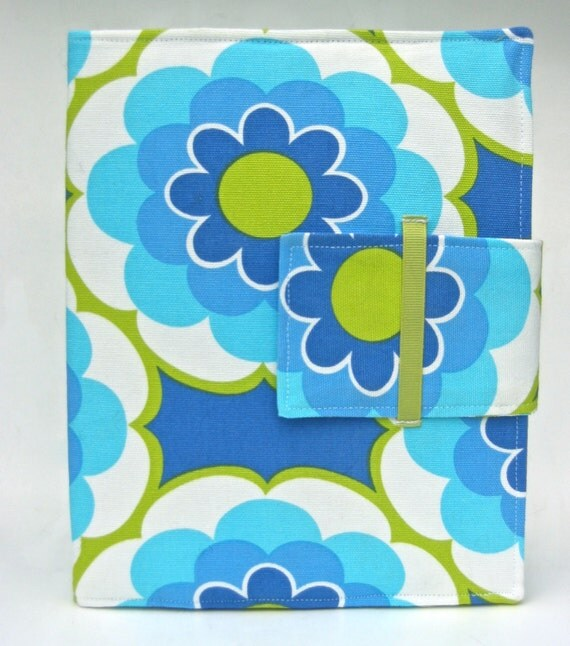 iPad Case - IPad  iPad 2 and iPad 3 folding cover or stand in Modern blues and limes