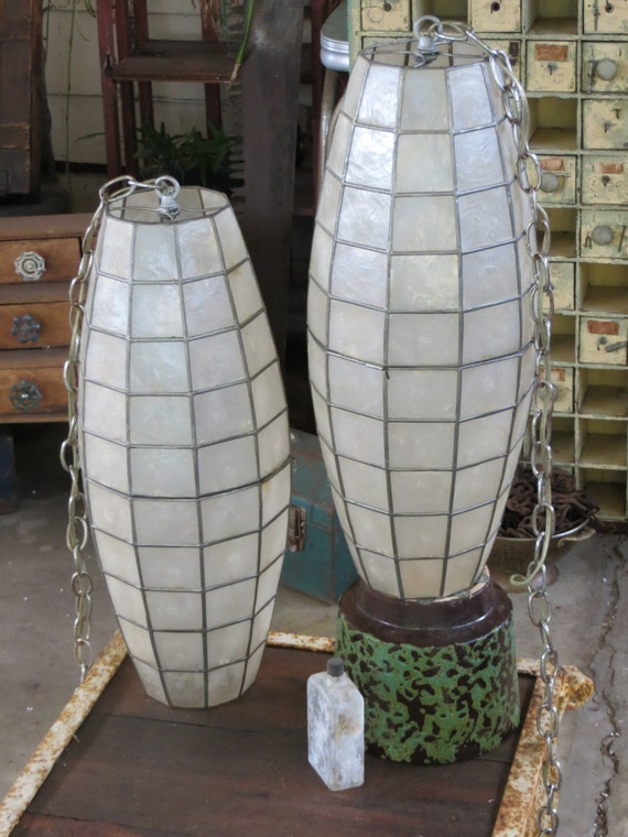 Large Elegant Pair of Luminescent Capiz Shell Swag Lamps: Delicate Pearlescent Ivory w/ Silver Edges - Panton Style Hanging Chandeliers