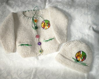 REDUCED 18 to 24 Months Peace Knit Sweater and Hat Set