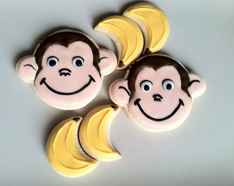 Curious George party sugar cookies