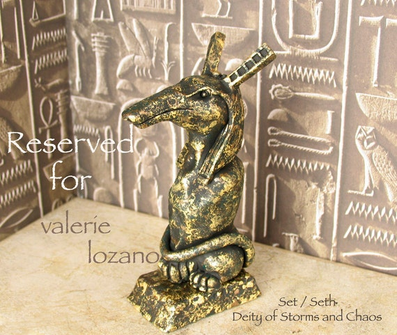 RESERVED for valerie lozano - The Egyptian God Set / Seth  - Handmade Altar Votive Statue - God of Storms and Chaos - Full Animal Form