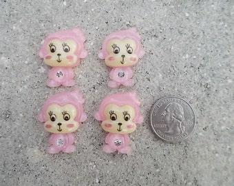 Pink Monkey Flatback Cabochon - Set of 4
