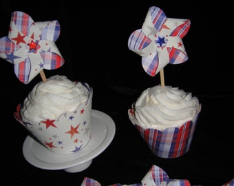 Stars and Stripes Cupcake Wrappers and Pinwheel Toppers