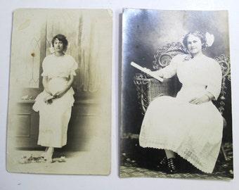 2 Victorian Graduation Women Photos, Early 1900s Fashion, Diplomas, Real Photo Postcards, Sepia