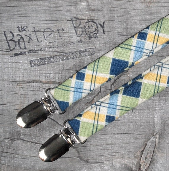 Green, Blue & Yellow diagonal plaid little boy matching suspenders - photo prop, wedding, ring bearer, accessory