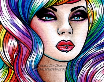 Limited Edition 8 out of 25 Apprx 11x14 in Art Print - Hard Candy 2 - Pin Up Girl With Rainbow Hair