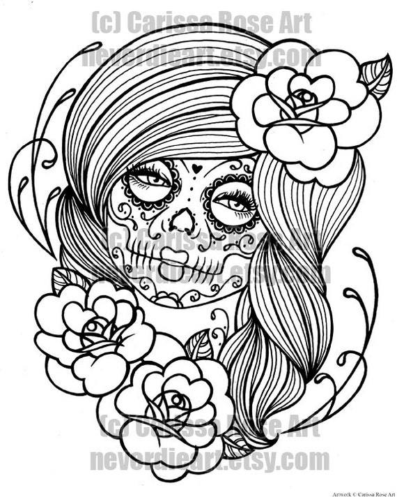 digital download print your own coloring book outline page day of the dead tattoo flash by carissa rose - Day Of The Dead Coloring Pages