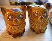 Bead Eyed Cats Salt and Pepper Shakers - Vintage, Collectible